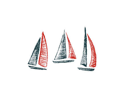 Vector card with hand drawn sailing ships. Hand drawn with chalk sailing boats. Beautiful design elements, perfect for nursery. Çizim