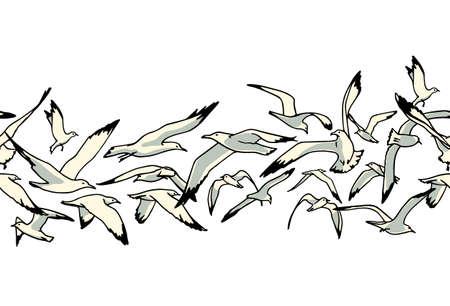 Hand drawn seagulls pattern 向量圖像