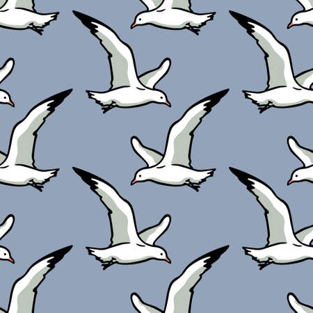 Hand drawn seagulls pattern Ilustração
