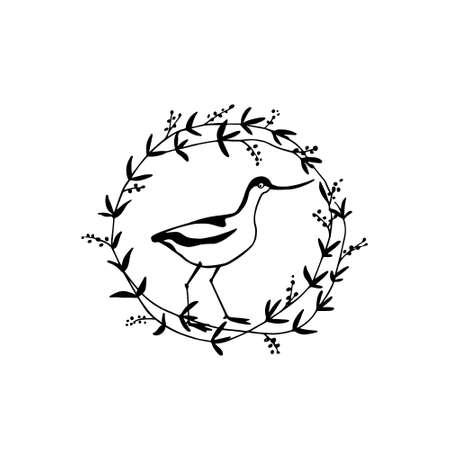 Hand drawn bird emblem Ilustração