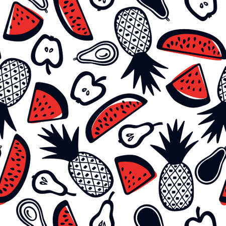 Hand drawn fruit pattern