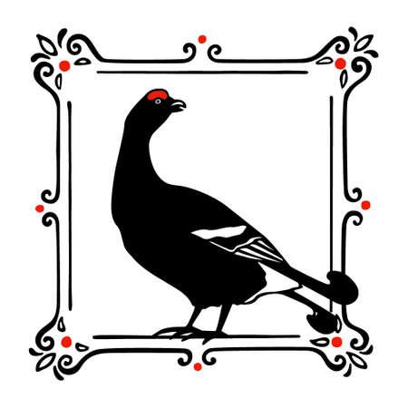 Hand drawn black grouse Ilustração