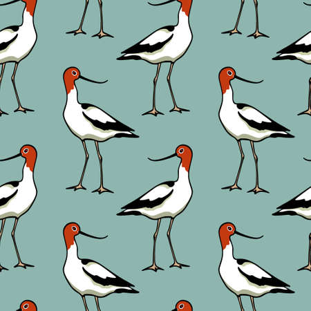 Vector seamless pattern with hand drawn cute Red-necked Avocets. Beautiful animal design elements, ink drawing,perfect for prints and patterns Ilustração