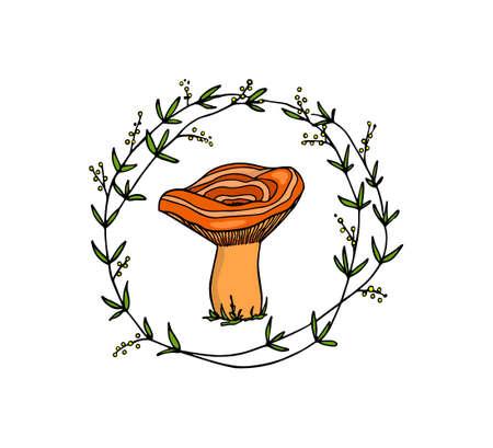 Hand drawn mushroom emblem Ilustracja