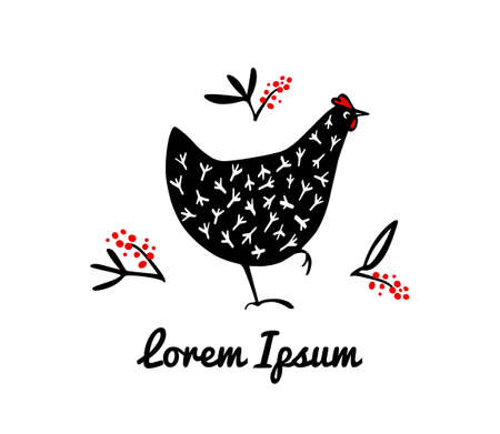 Vector illustration of hand drawn speckled hens with floral elements. Beautiful ink drawing, abstract design elements. Perfect elements for food or farming design. Illustration
