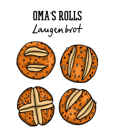 Hand drawn German bread