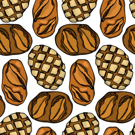 Vector seamless pattern with hand drawn traditional German rustic bread. Ink drawing, graphic style. Beautiful food design elements. Illustration
