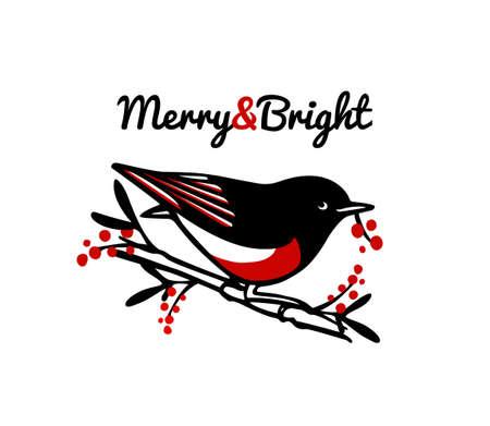 Hand drawn bird emblem Ilustracja