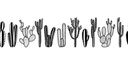 Hand drawn cactus pattern Ilustracja