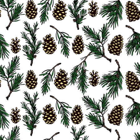 Hand drawn winter floral pattern