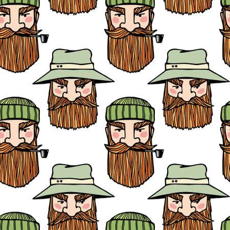 Fishermen heads pattern Ilustracja