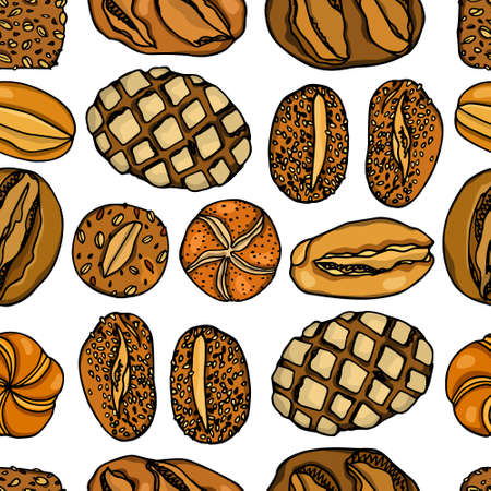 Hand drawn German bread pattern