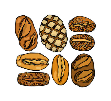 Vector card with hand drawn traditional German bread. Ink drawing, graphic style. Beautiful food design elements.