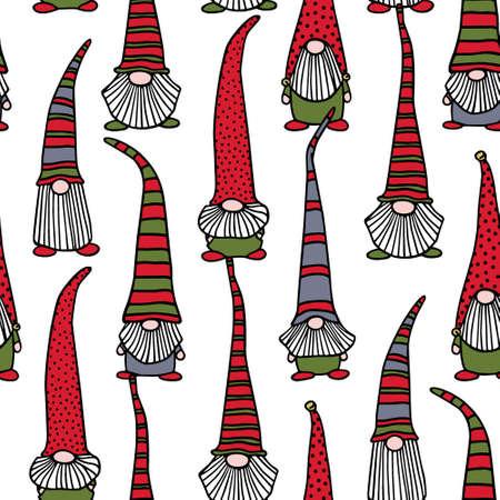 Hand drawn Christmas gnomes pattern Ilustracja
