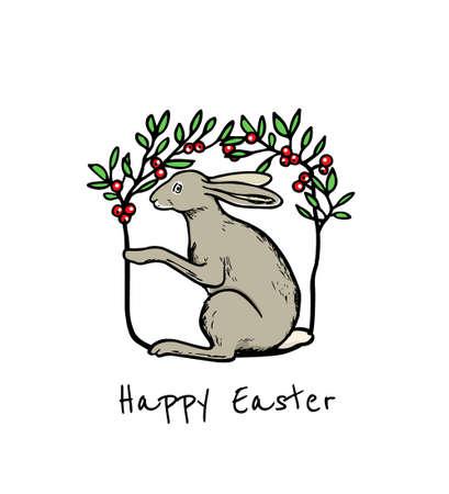 Hand drawn hare emblem