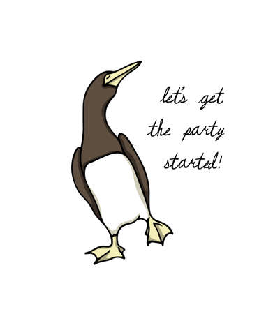 Vector illustration of hand drawn funny dancing Brown Booby. Ink drawing, beautiful animal design elements. Vectores