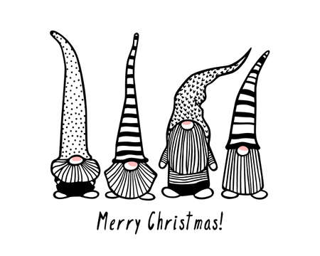 Vector Christmas card with hand drawn cute Scandinavian gnomes with pink noses in patterned caps. Ink drawing, funny illustration, beautiful design elements.
