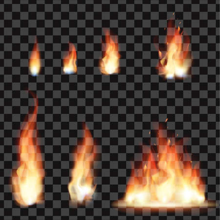 Set of bright realistic fire with transparency isolated on checkered vector background. Light effects collection for your design. Realistic fire flames effect, vector illustration.