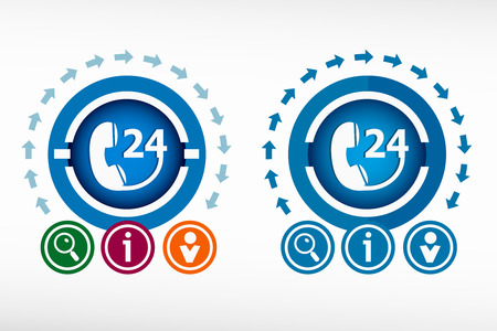 around the clock: Support and service - around the clock or 24 hours. Flat design concept