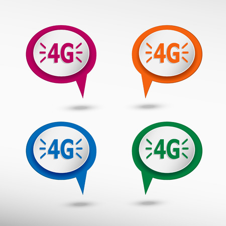 4G sign on colorful chat speech bubbles . Mobile telecommunications technology Vector
