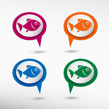 product signal: Fish symbol on colorful chat speech bubbles