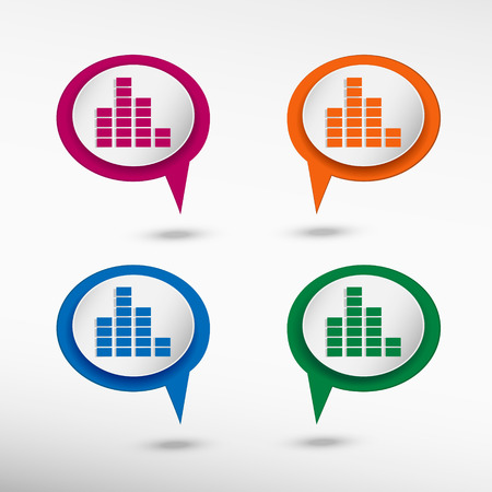 soundwave: Soundwave music symbol. Map pointer Illustration
