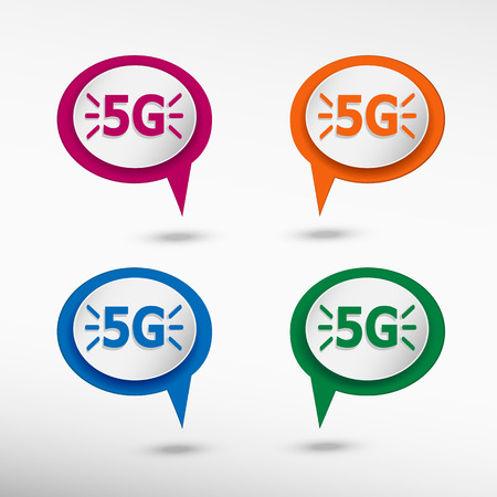telecommunications: connectivity sign on colorful chat speech bubbles. Mobile telecommunications technology
