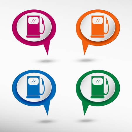 excursions: Gas station icon on colorful chat speech bubbles.