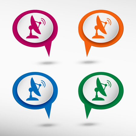 world receiver: Antenna transmission symbol on colorful chat speech bubbles.