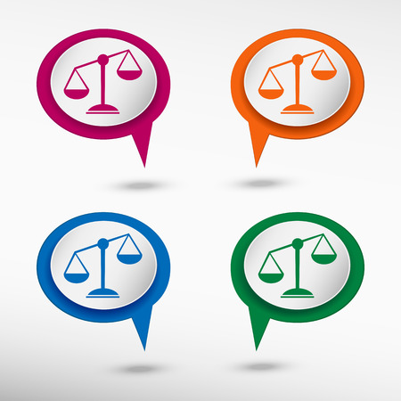 grams: Scales of Justice sign on colorful chat speech bubbles Illustration