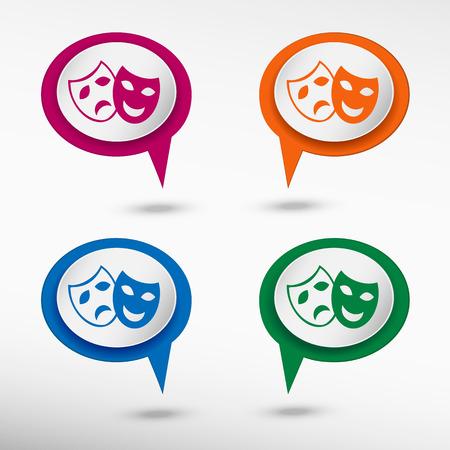 theatre masks: Theatre Masks Symbols on colorful chat speech bubbles