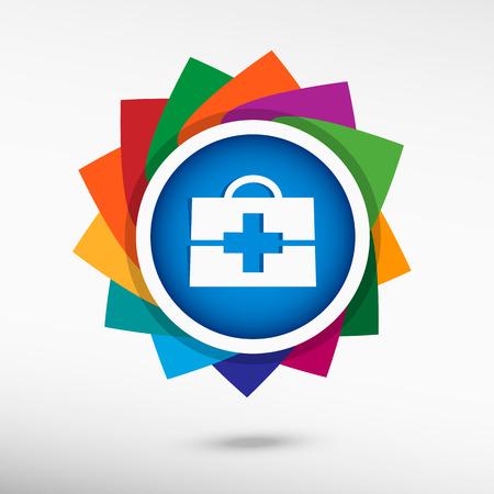 first aid box: En primer icono de la caja de la ayuda. Vectores