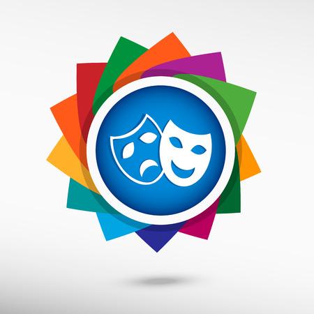 satire: Theatre Masks Symbols. Flat design style