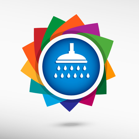 douche: Shower icon. Douche with water drops symbol. Illustration