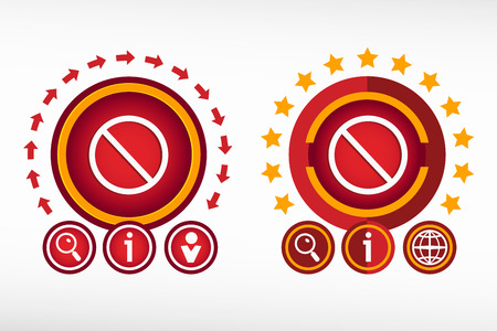 soft pedal: Sign ban icon on creative background. Red design concept for banner, web, advertising, print. Illustration