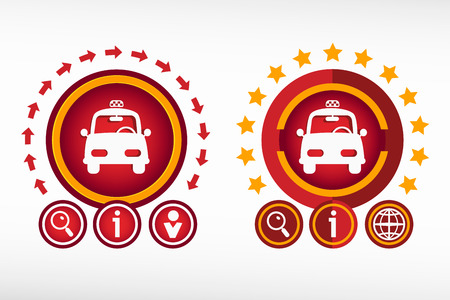 Taxi icon on creative background. Red design concept for banner, web, advertising, print. Vector