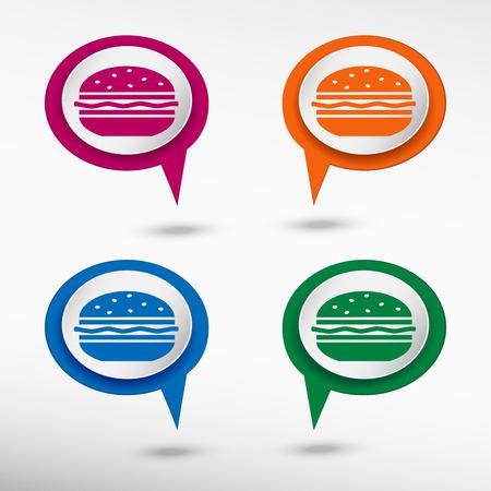 american cuisine: Hamburger icon on colorful chat speech bubbles Illustration