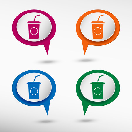 soft drink: Soft drink icon on colorful chat speech bubbles Illustration