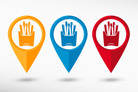 fried potatoes: Fried potatoes icon map pointer, vector illustration. Flat design style