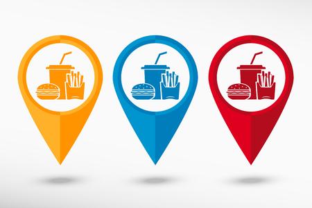 prepared potato: Fast food icon map pointer, vector illustration. Flat design style Illustration