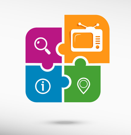 telecast: Television on colorful jigsaw puzzle
