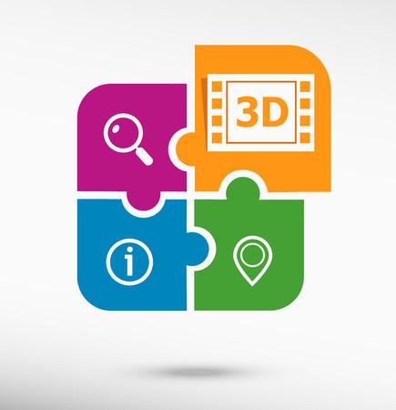 cinematografico: Icono del cine 3D en colorido rompecabezas