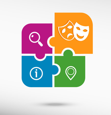 theatre masks: Theatre Masks Symbols on colorful jigsaw puzzle