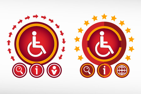 disabled access: Disabled Handicap icon on creative background. Red design concept for banner, web, advertising, print.