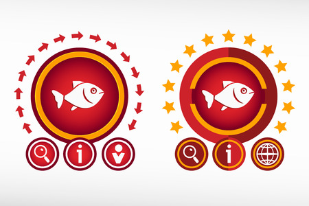 product signal: Fish and creative design elements. Red design concept