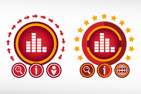 soundwave: Soundwave music icon and creative design elements. Red design concept Illustration