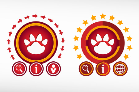 Paw icon on creative background. Red design concept for banner, web, advertising, print. Vector