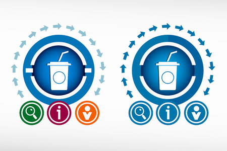 soft drink: Soft drink icon and creative design elements. Flat design concept. Illustration