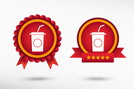 closed ribbon: Soft drink icon stylish quality guarantee badges. Colorful Promotional Labels