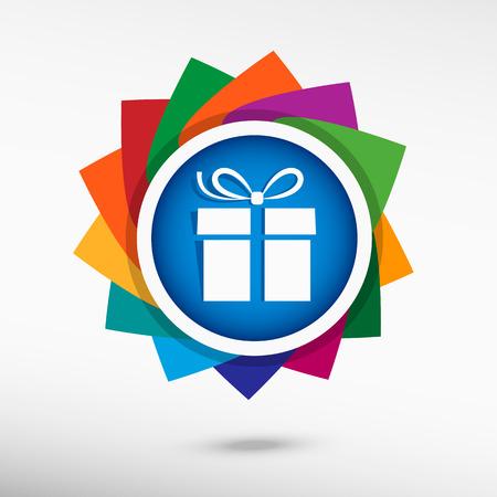 Gift box icon. Flat design style Vector